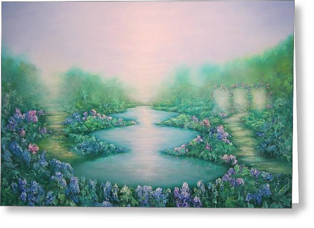 Dreamscape Art Greeting Cards - The Garden of Peace Greeting Card by Hannibal Mane
