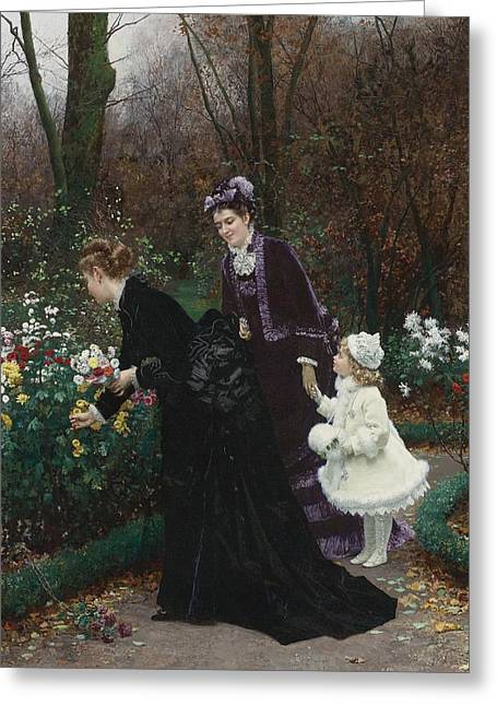 Sponsor Greeting Cards - The Garden Of Sponsor Greeting Card by Marie-francois Firmin-girard