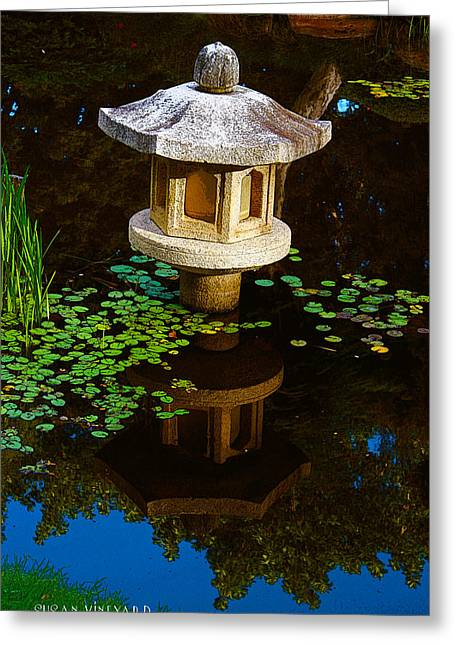 Water Garden Pyrography Greeting Cards - The Garden of Water and Fragrance  Greeting Card by Susan Vineyard