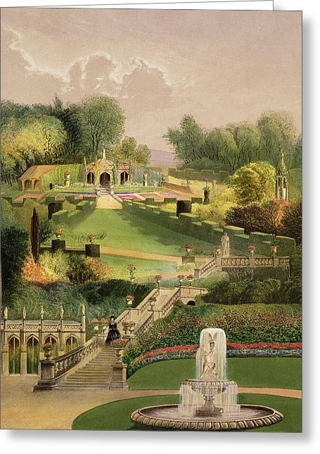Wiltshire Greeting Cards - The Garden On The Hill Side, Castle Greeting Card by E. Adveno Brooke