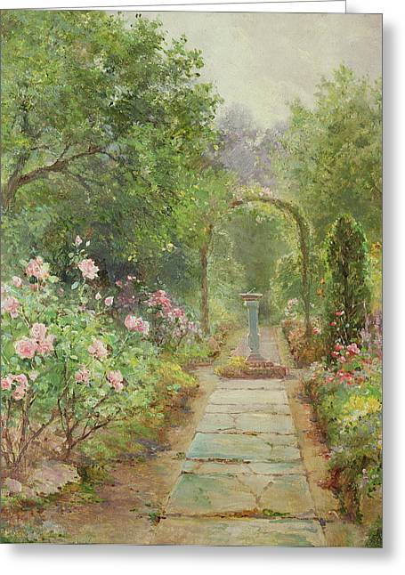 Trellis Paintings Greeting Cards - The Garden Path Greeting Card by Ernest Walbourn