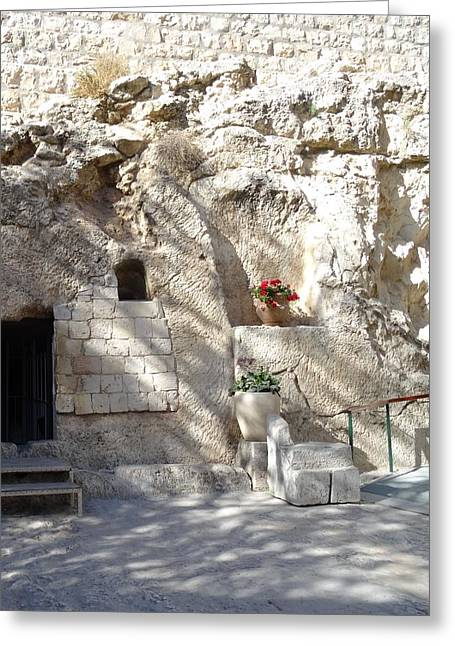 Prophesy Greeting Cards - The Garden Tomb  in Jerusalem Greeting Card by Karen J Jones