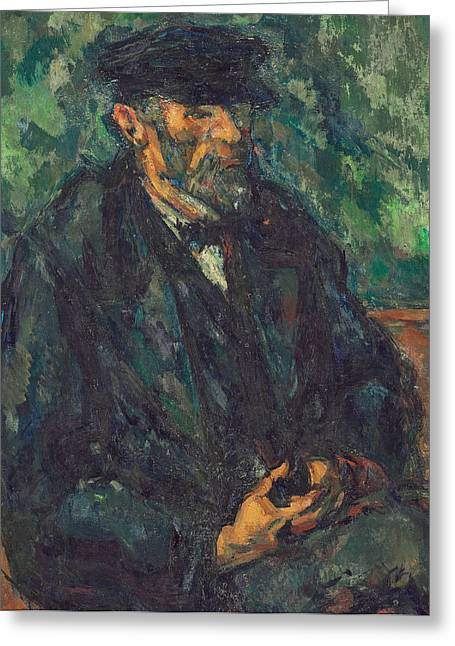 Male Prints Greeting Cards - The Gardener Vallier Greeting Card by Paul Cezanne