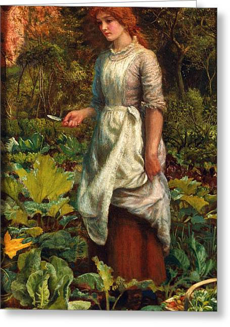 Lettuce Digital Greeting Cards - The Gardeners Daughter Greeting Card by Arthur Hughes