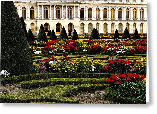 Red Buildings Greeting Cards - The Gardens at Versailles Greeting Card by Tom Prendergast