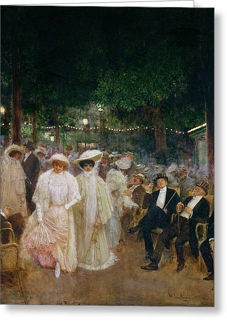 Nike Greeting Cards - The Gardens Of Paris, Or The Beauties Of The Night, 1905 Oil On Canvas Greeting Card by Jean Beraud