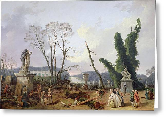 Saw Greeting Cards - The Gardens Of Versailles Oil On Canvas Greeting Card by Hubert Robert