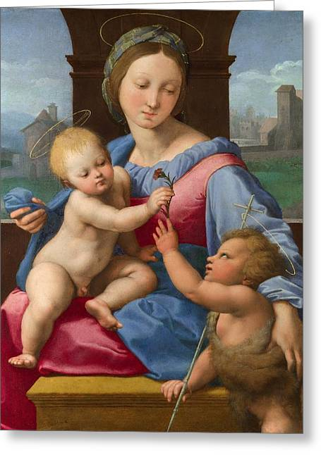 1510 Paintings Greeting Cards - The Garvagh Madonna Greeting Card by Raffaello Sanzio