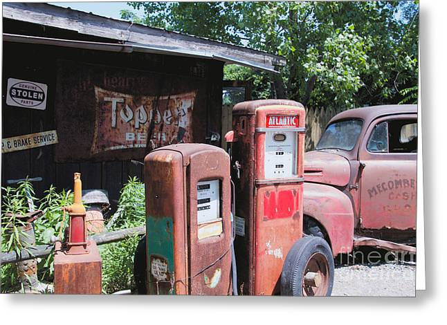 Wine Tour Greeting Cards - The Gas Pumps Greeting Card by William Norton