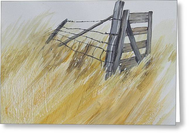 Barbed Wire Fences Mixed Media Greeting Cards - The Gate Greeting Card by Gregory Peters