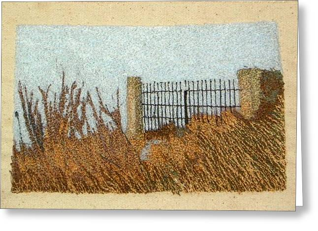 Freed Tapestries - Textiles Greeting Cards - The Gate Greeting Card by Jenny Williams