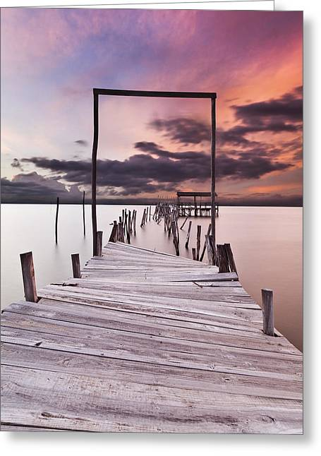 Wood Pier Greeting Cards - The gate Greeting Card by Jorge Maia