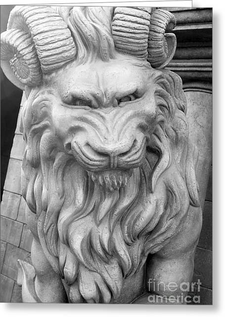 Gargoyle Lion Greeting Cards - The Gate Keeper Greeting Card by Ken Killion