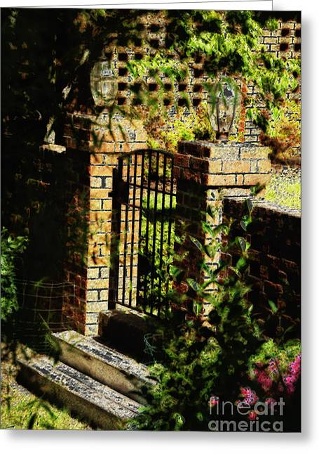 Stein Greeting Cards - The Gate Greeting Card by Nancy E Stein