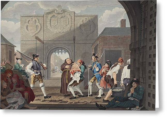 Thin Drawings Greeting Cards - The Gate Of Calais, Or O The Roast Beef Greeting Card by William Hogarth