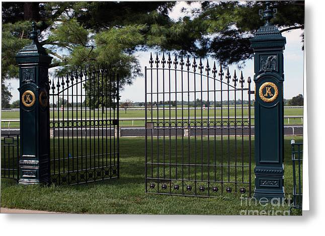 Keeneland Greeting Cards - The Gate Greeting Card by Roger Potts