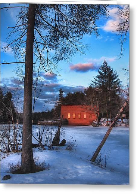 Rural Snow Scenes Greeting Cards - The Gatehouse Greeting Card by Joann Vitali