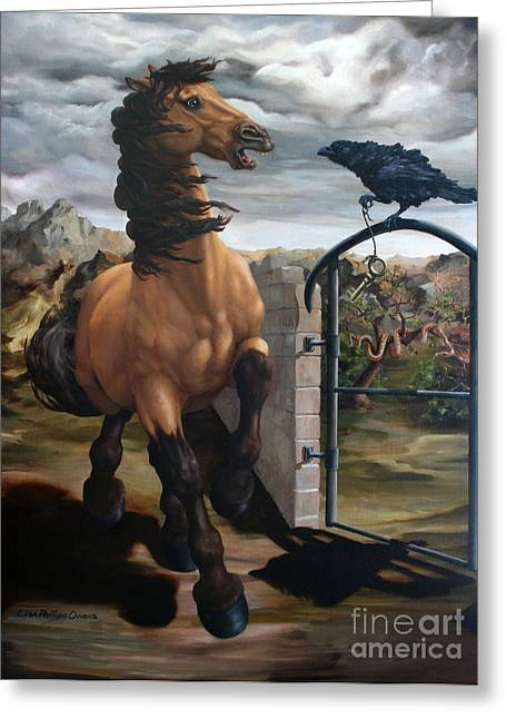 Horse Pictures Greeting Cards - The Gatekeeper Greeting Card by Lisa Phillips Owens