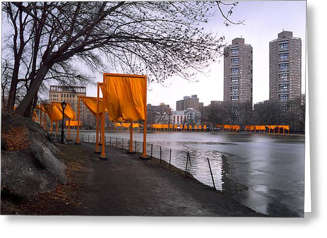 Art Exhibit Greeting Cards - The Gates - Central Park New York - Harlem Meer Greeting Card by Gary Heller