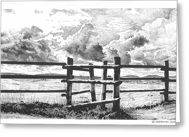 Pen And Ink Drawing Greeting Cards - The Gateway Greeting Card by Paul Shafranski