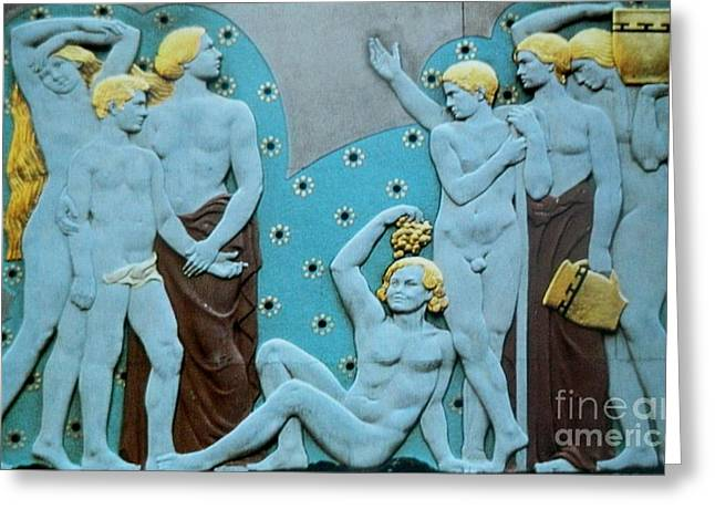 Posters Of Nudes Mixed Media Greeting Cards - The GATHERING  Art Deco Greeting Card by Gunter  Hortz