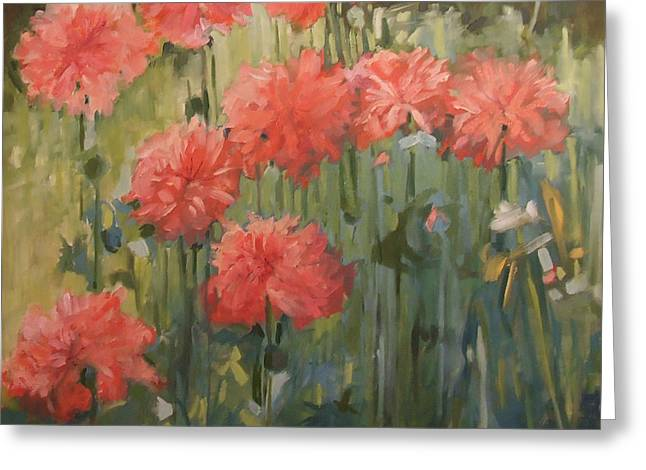 Pink Carnations Greeting Cards - The Gathering II Greeting Card by Kathleen McElwaine