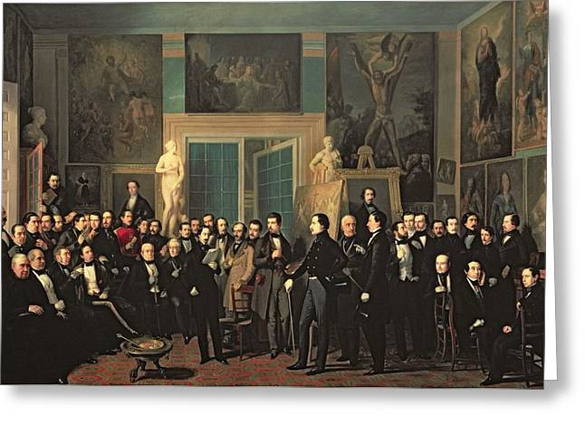 Statue Portrait Greeting Cards - The Gathering Of The Poets, 1846 Oil On Canvas Greeting Card by Antonio Maria Esquivel