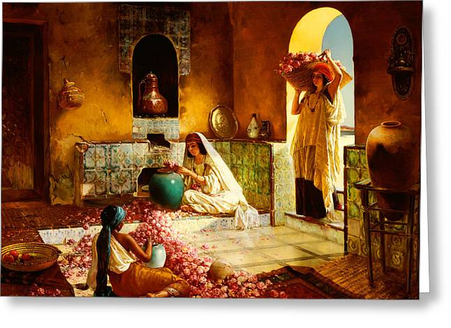 Islam Greeting Cards - The Gathering of the Roses Greeting Card by Rudolphe Ernst