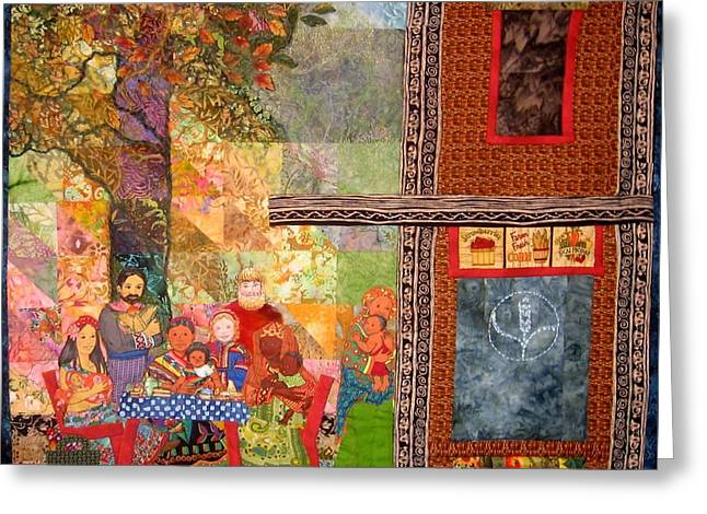 Outside Tapestries - Textiles Greeting Cards - The Gathering Place Greeting Card by Carol Bridges