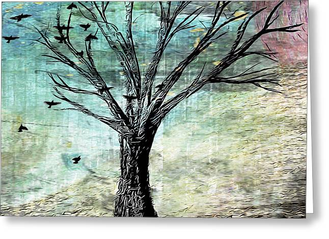 Flocks Of Birds Mixed Media Greeting Cards - The Gathering Tree Greeting Card by Catherine Harms
