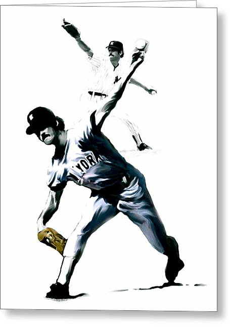 Yankees Drawings Greeting Cards - The Gator  Ron Guidry  Greeting Card by Iconic Images Art Gallery David Pucciarelli