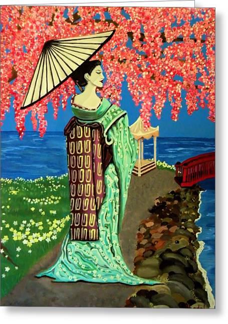 The Geisha Greeting Card by Victoria Rhodehouse