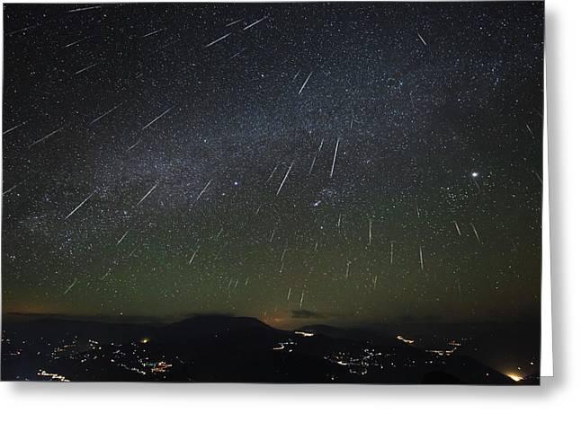 The Geminids Meteor Shower Streaks Greeting Card by Jeff Dai