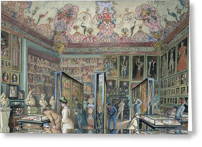 Display Case Greeting Cards - The Genealogy Room Of The Ambraser Gallery In The Lower Belvedere, 1888 Wc Greeting Card by Carl Goebel