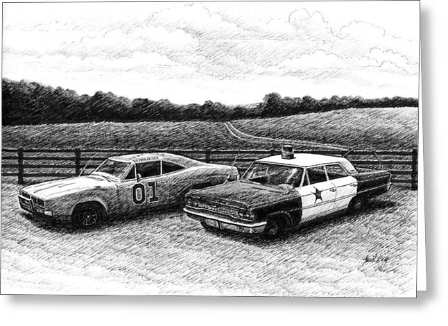 Barney Fifes Police Car Drawings Greeting Cards - The General Lee and Barney Fifes Police Car Greeting Card by Janet King