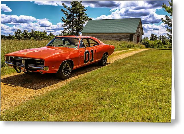Dukes Of Hazard Greeting Cards - The General Lee Greeting Card by Ivey Gabriel
