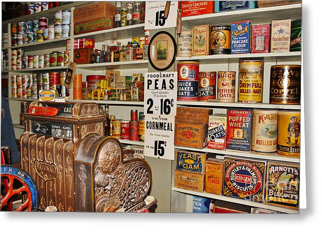 Valuable Photographs Greeting Cards - The General Store in 1864 Greeting Card by Janice Rae Pariza