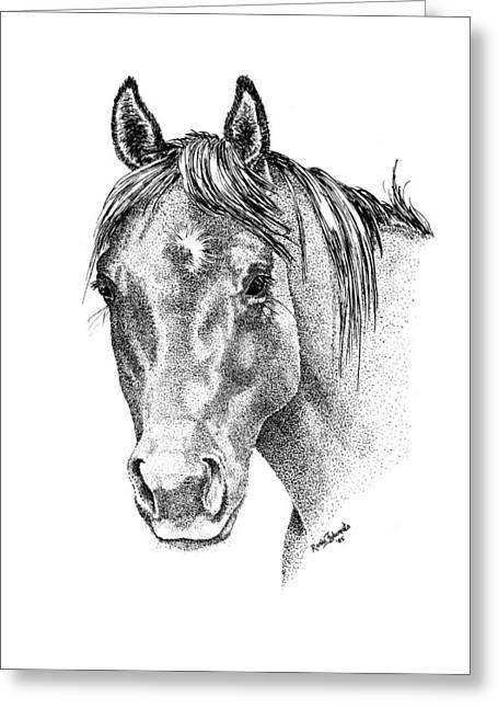 Stipple Greeting Cards - The Gentle Eye Horse Head Study Greeting Card by Renee Forth-Fukumoto
