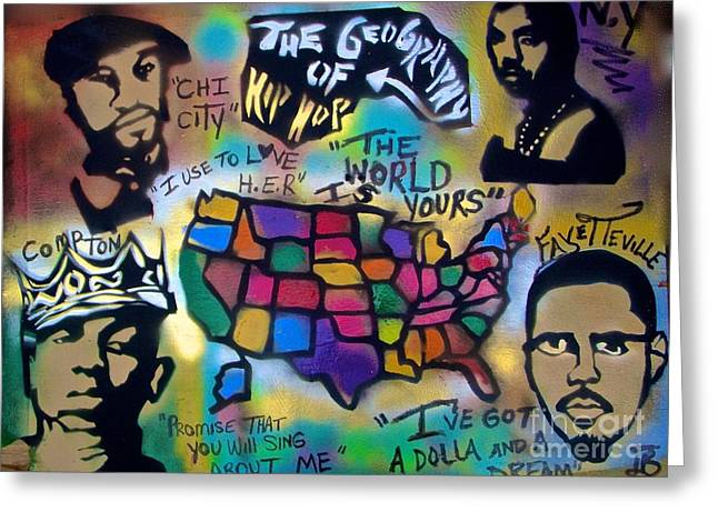 Cole Greeting Cards - The Geography Of Hip Hop Greeting Card by Tony B Conscious