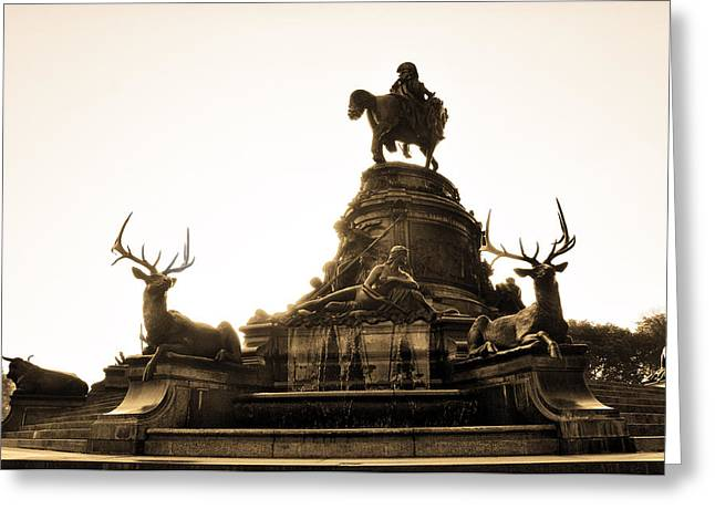 Eakins Oval Greeting Cards - The George Washington Monument from Behind Greeting Card by Bill Cannon
