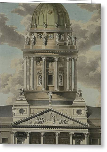 Domes Drawings Greeting Cards - The German Cathedral on the Gendarmenmarkt Greeting Card by GF Kluge