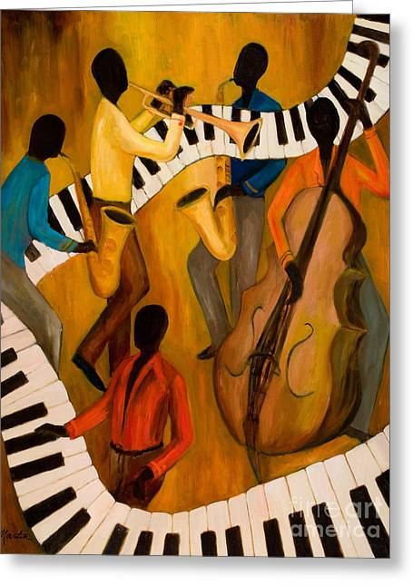 Recently Sold -  - African-american Greeting Cards - The Get-Down Jazz Quintet Greeting Card by Larry Martin