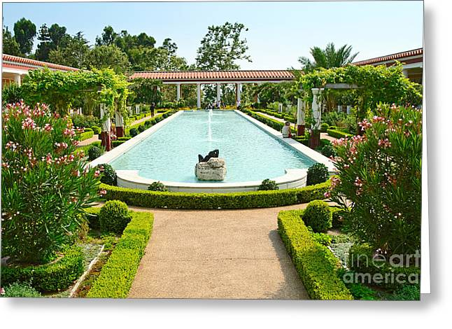 Getty Greeting Cards - The Getty Villa main courtyard. Greeting Card by Jamie Pham