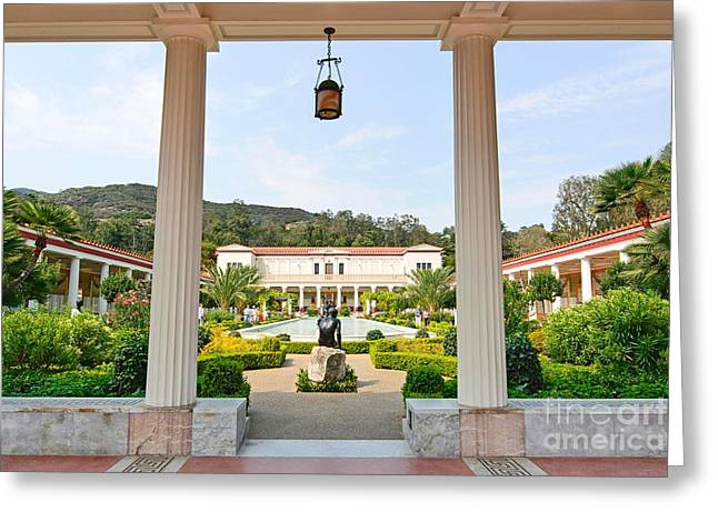 Getty Greeting Cards - The Getty Villa main courtyard view from covered walkway. Greeting Card by Jamie Pham