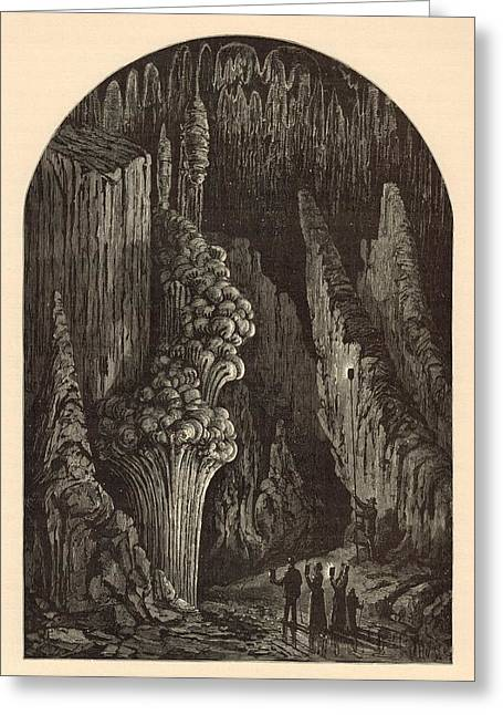 Appleton Art Greeting Cards - The Geyser 1872 Engraving Greeting Card by Antique Engravings