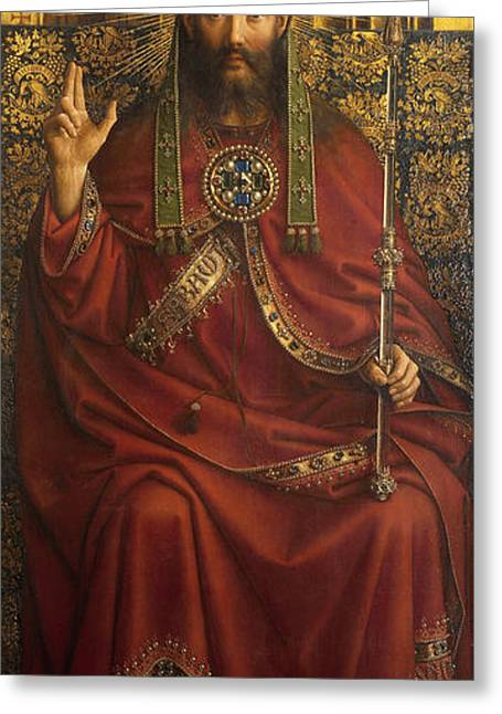 Calvary Greeting Cards - The Ghent Altarpiece Open  Greeting Card by Jan Van Eyck