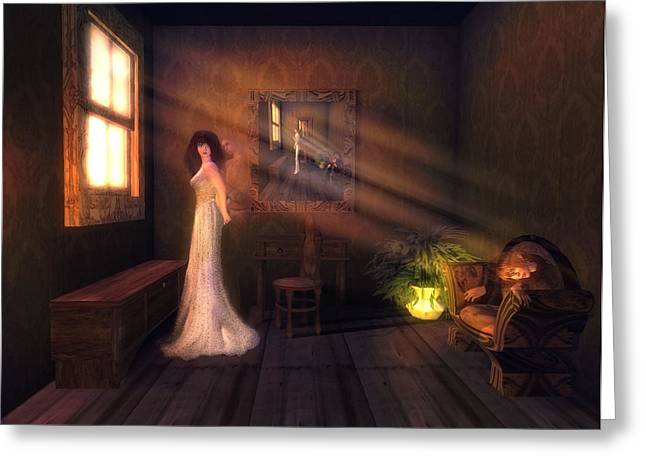Cabin Window Mixed Media Greeting Cards - The Ghosts of Misty Manor Greeting Card by Zachary Zilba