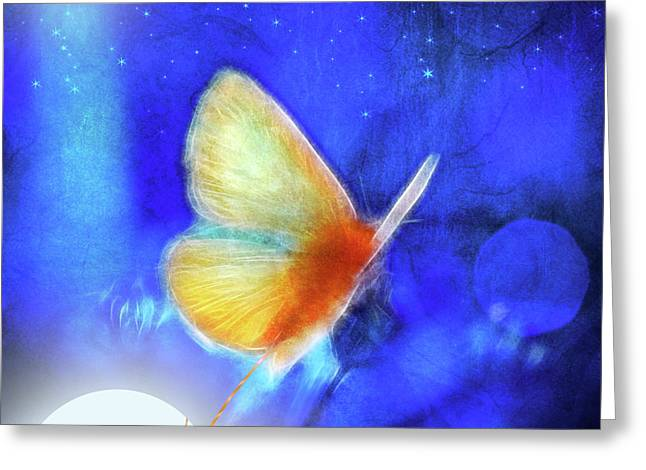 Aimelle Prints Greeting Cards - The Giant Butterfly and The Moon Greeting Card by Aimelle