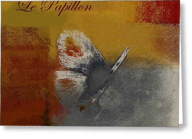 Ocher Greeting Cards - The Giant Butterfly and the Moon - j203106185-c0922cbrtx2b Greeting Card by Variance Collections