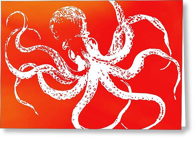 Invertebrates Mixed Media Greeting Cards - The Giant Octopus Greeting Card by Dan Sproul